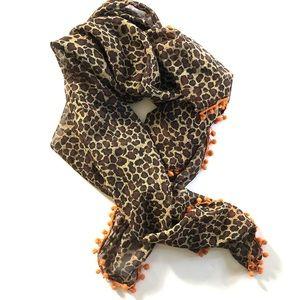 Accessories - leopard print Pom Pom scarf